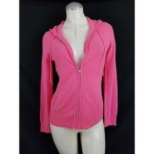 Ann Taylor Size S 100% Cashmere Pink Zip Cardigan